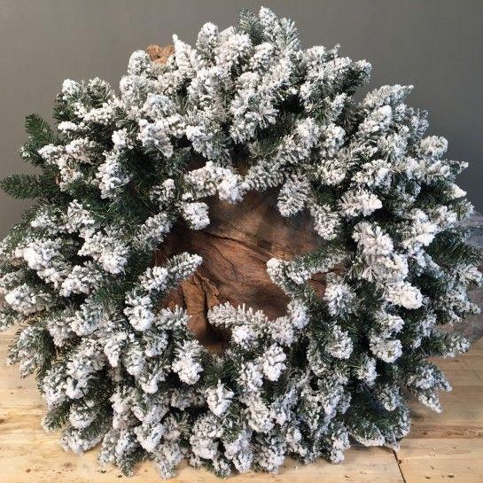 Χριστουγεννιάτικο Χιονισμένο Στεφάνι 80cm