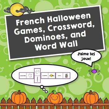 French Halloween Games, Crossword, Dominoes, and Word Wall
