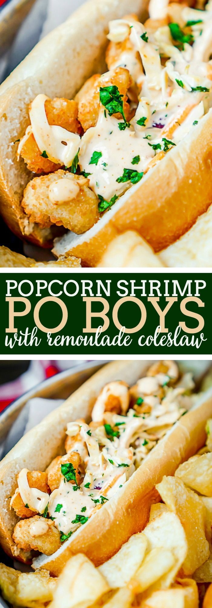 Popcorn Shrimp Po Boys Recipe with Remoulade Coleslaw - {Msg 4 21+} Easy dinner twist on classic New Orleans' sandwich recipe. Ready in 10 minutes with tons of flavor! | The Love Nerds  via @lovenerdmaggie