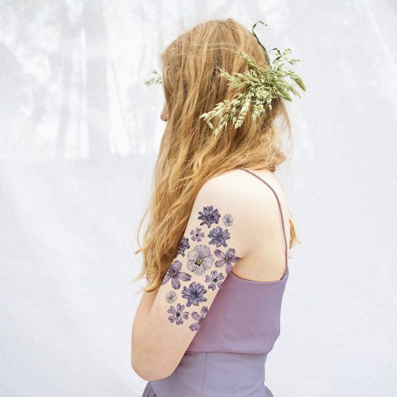 Lilac Floral Temporary Tattoo Kit