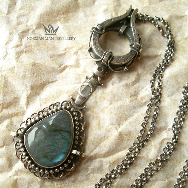 WISIOR ORIENTALNY|SREBRNY NASZYJNIK Z LABRADORYTEM|Silver Pendant|Handmade|By Norman Man Jewellery