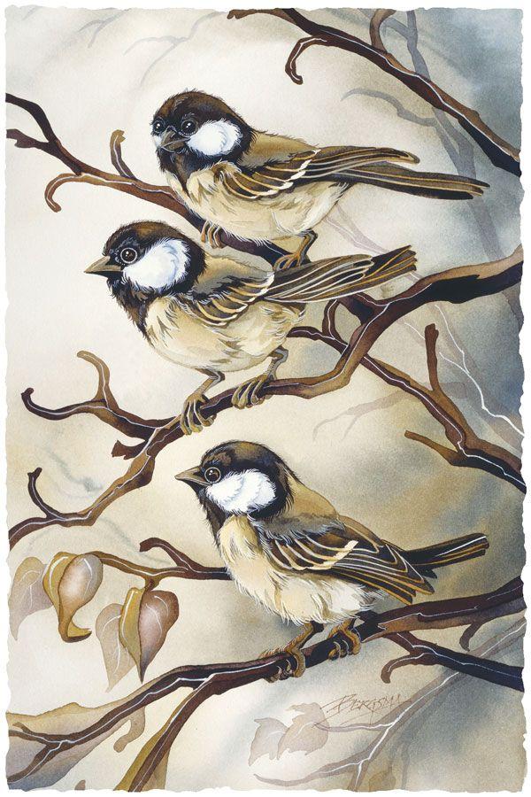 """Out on a Limb"" - Chickadees - bird painting by Jody Bergsma"