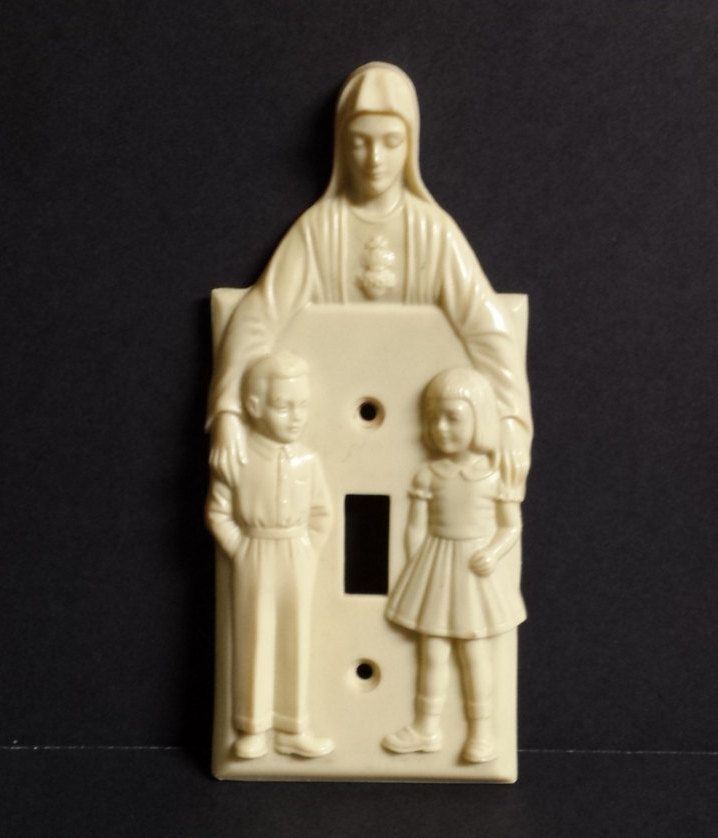 Vintage Light Switch Cover, Hartland Plastic Company, Religious Light Switch Cover, Virgin Mary, Children, 1950s, nursery decor by RayMels on Etsy