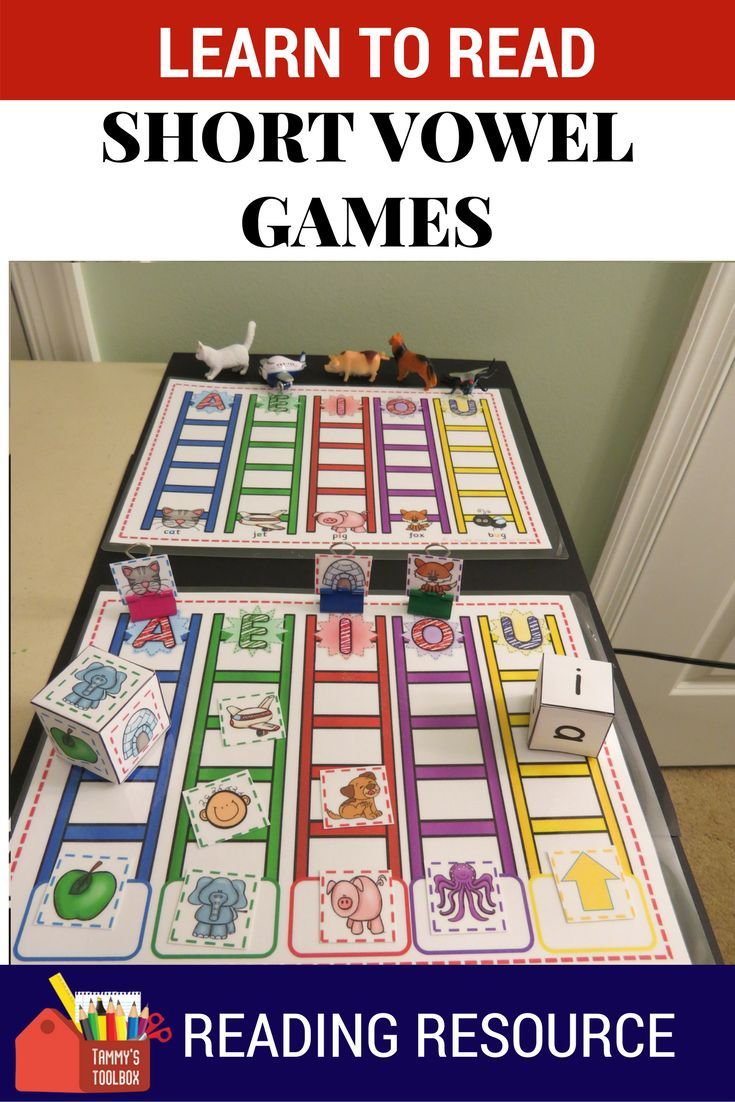 Games and activities for learning short vowels and learning to read. Race to the Top Games are fun, easy to use activities for learning and practicing short vowel sounds. Go to Tammy's Toolbox to see them.  #reading, #phonics, #phonicsgames, #ortongillingham #shortvowels