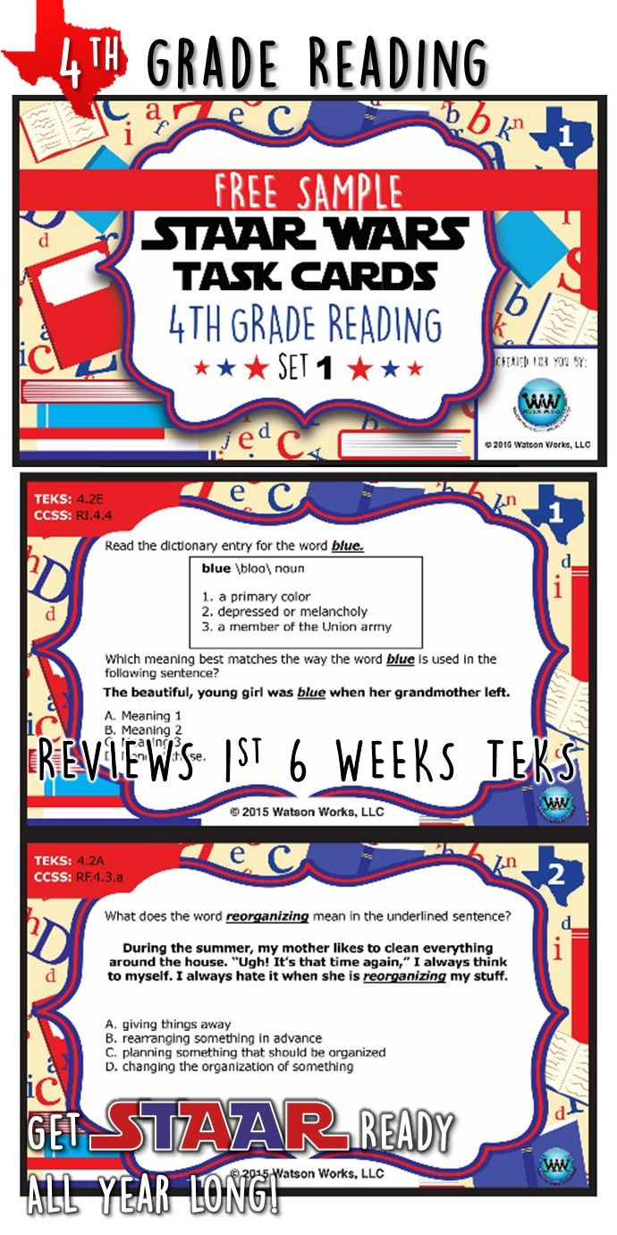 Please check out this FREE sample of set 1 our STAAR Wars 4th Grade Reading Task Cards. We believe it is important to prepare students for the state assessment from the very beginning of the school year, and since there are so few quality STAAR resources on the market, we decided to create these task cards to help our students become more confident and proficient test takers from the get-go.   Standards Covered: •TEKS – 4.2A, 4.2E •CCSS – RF.4.3A, RI.4.4