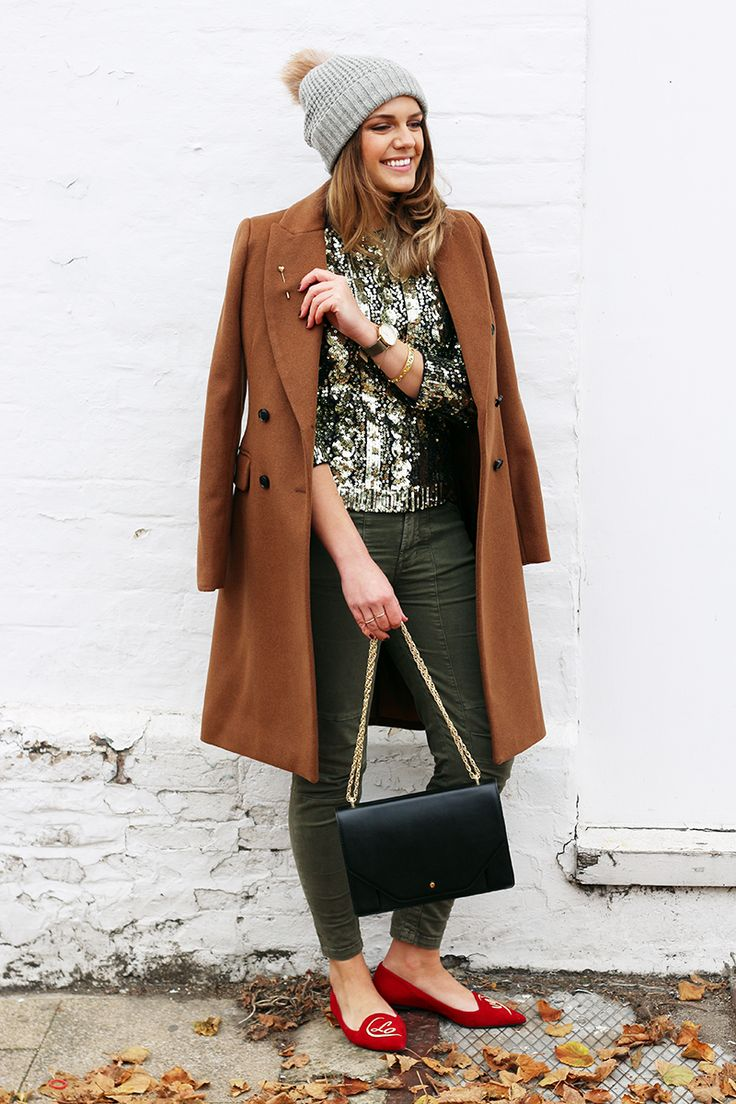 Sequin Gold Jumper Outfit Worn With Jeans And Coat   Christmas Outfit Ideas   Monica Beatrice Welburn   The Elgin Avenue Blog