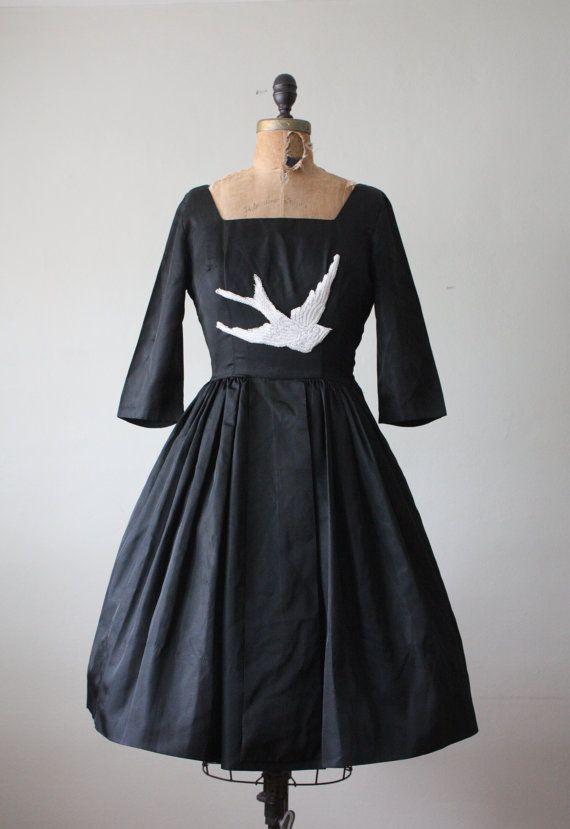 bird dress  1950's black lace bird dress by Thrush on Etsy, $189.00