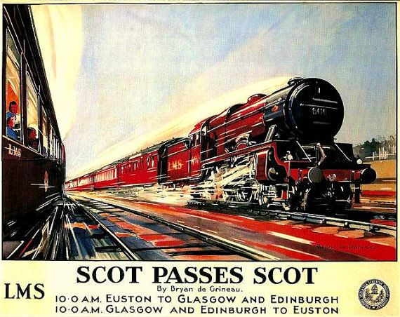 Flying Scotsman Train Travel Poster   1920s.  by BloominLuvly