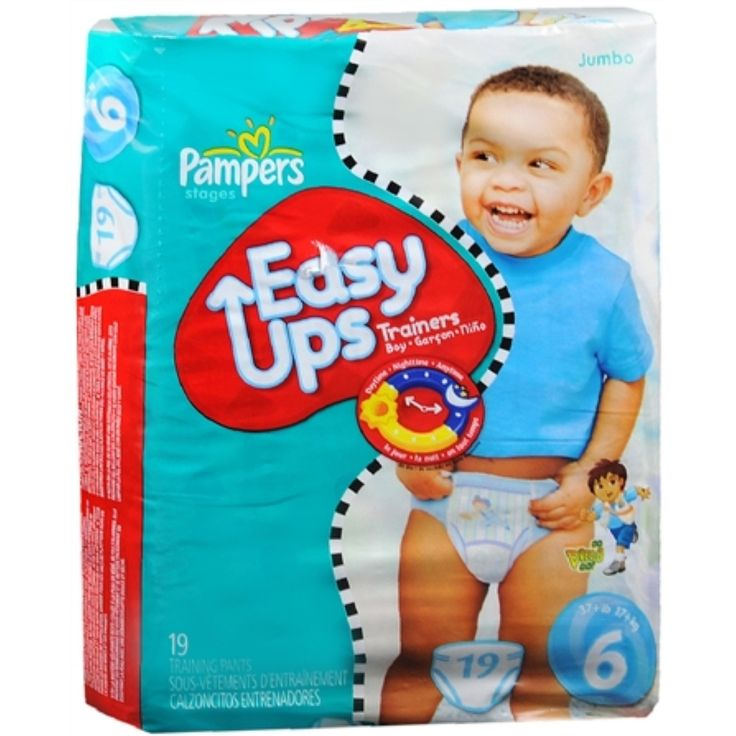 Pampers Easy Ups Pull-On Diapers Boys Size 6 37+ LBS 19 Each [4 packs per case]