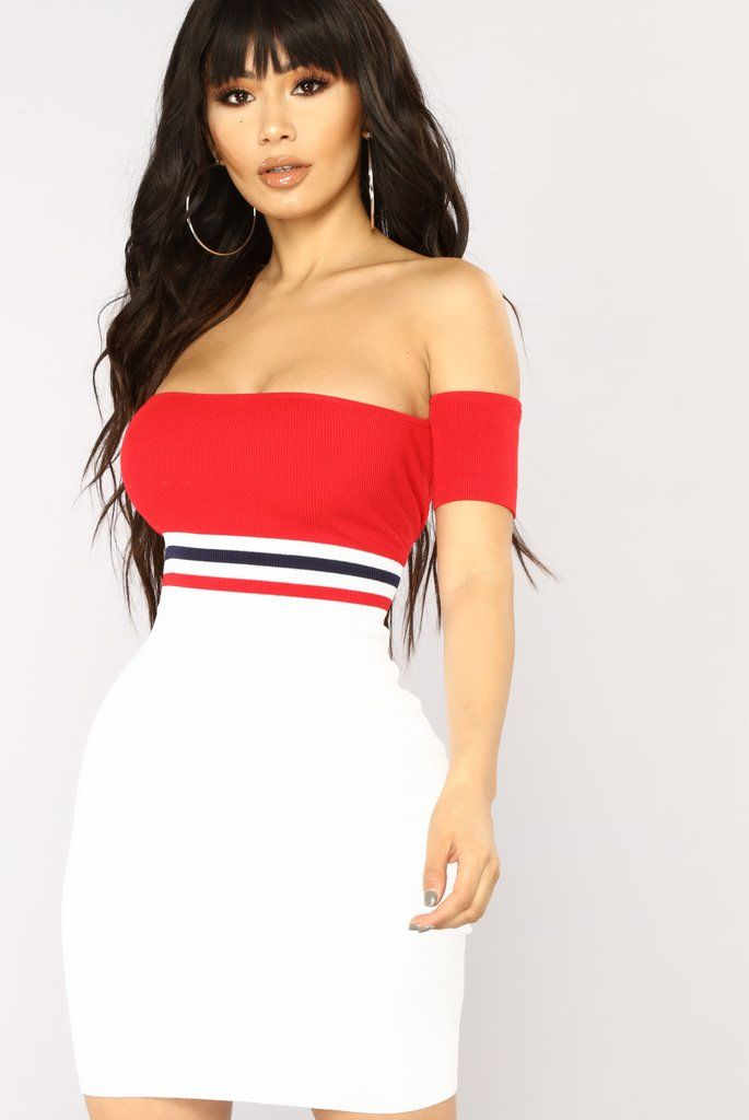 Blocked Number Mini Dress - Red