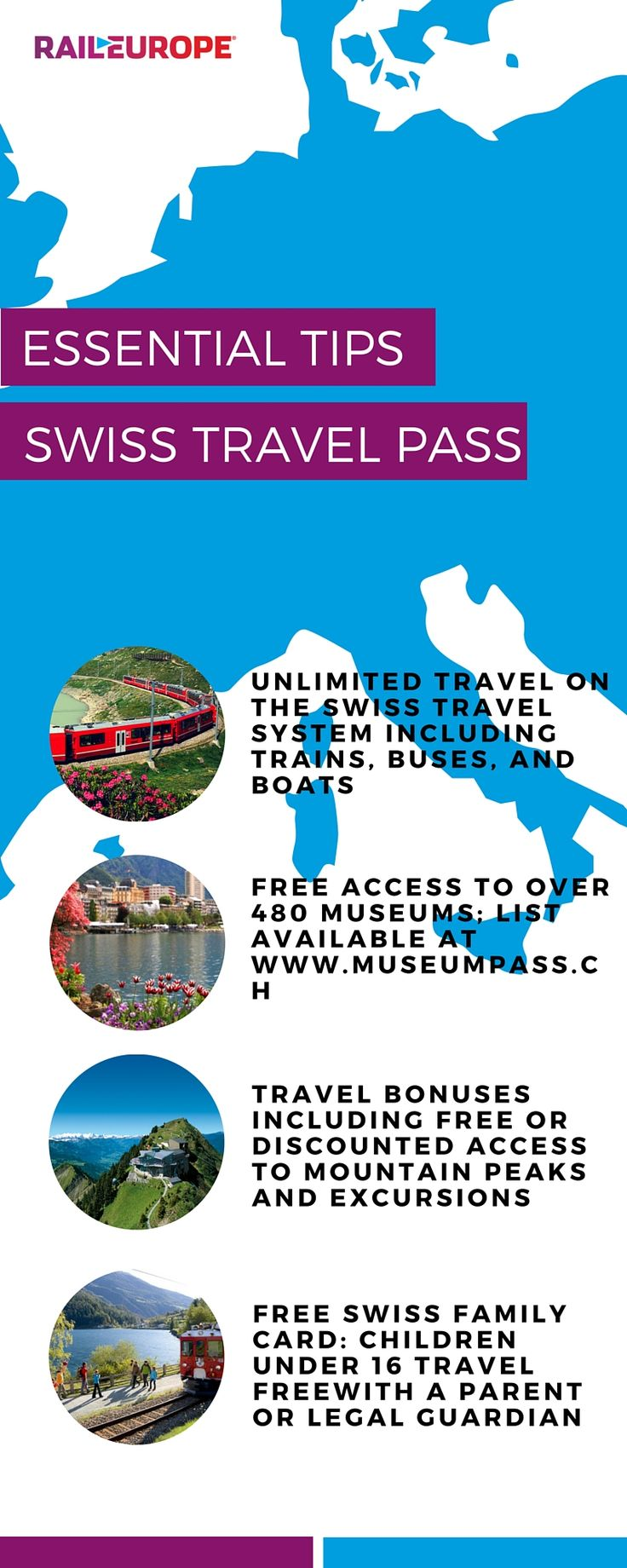 A Swiss Travel Pass covers travel on all Swiss trains, buses, & boats, plus entry into over 480 museums!