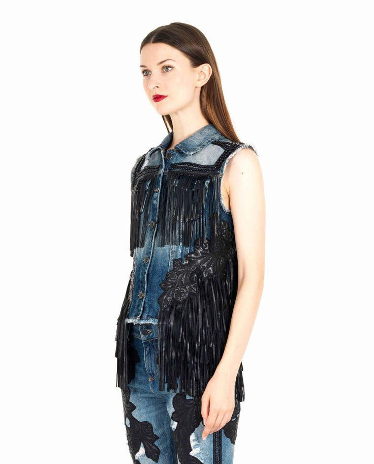 AMEN DENIM WAISTCOAT WITH FRINGES S/S 2016 Cotton denim waistcoat shirt collar two small front pockets embroidered with small pearls decorated with fringes and patches front button closure 100% CO  Applications: 100% PL