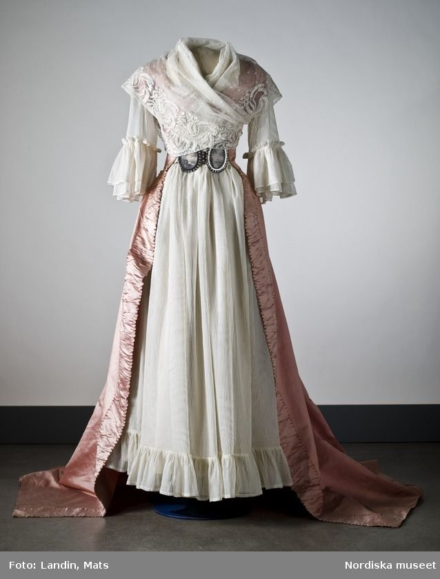 Dress (shown with accessories - belt, fichu, underdress): ca. second half 1700's, silk atlas.