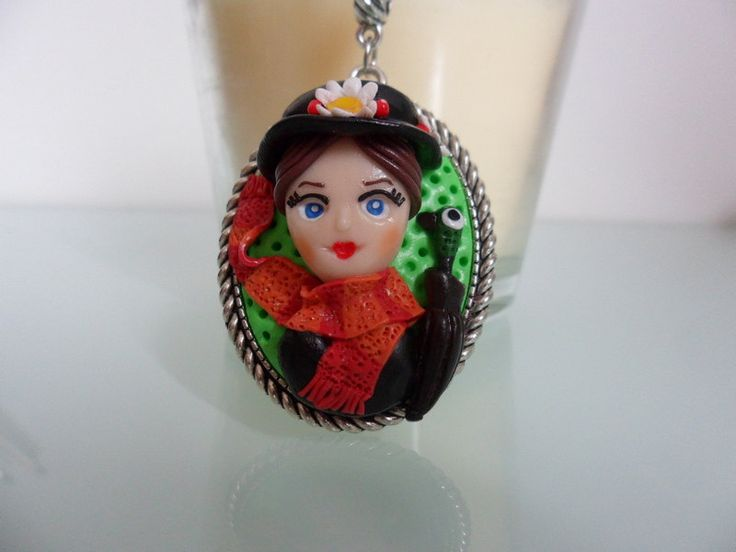 Mary Poppins Vintage Doll necklace, girl charm polymer clay, doll necklace, doll charms, movie charm, vintage movie, Disney World by TheWonderfulClay on Etsy