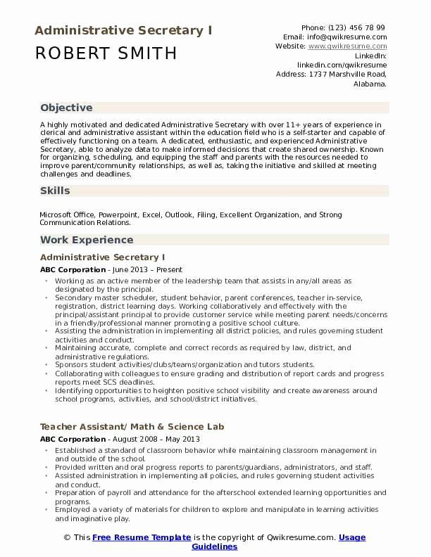 Legal Secretary Resume Objectives Fresh Administrative Secretary Resume Samples In 2020 Physical Therapist Assistant Resume Examples Medical Coder Resume