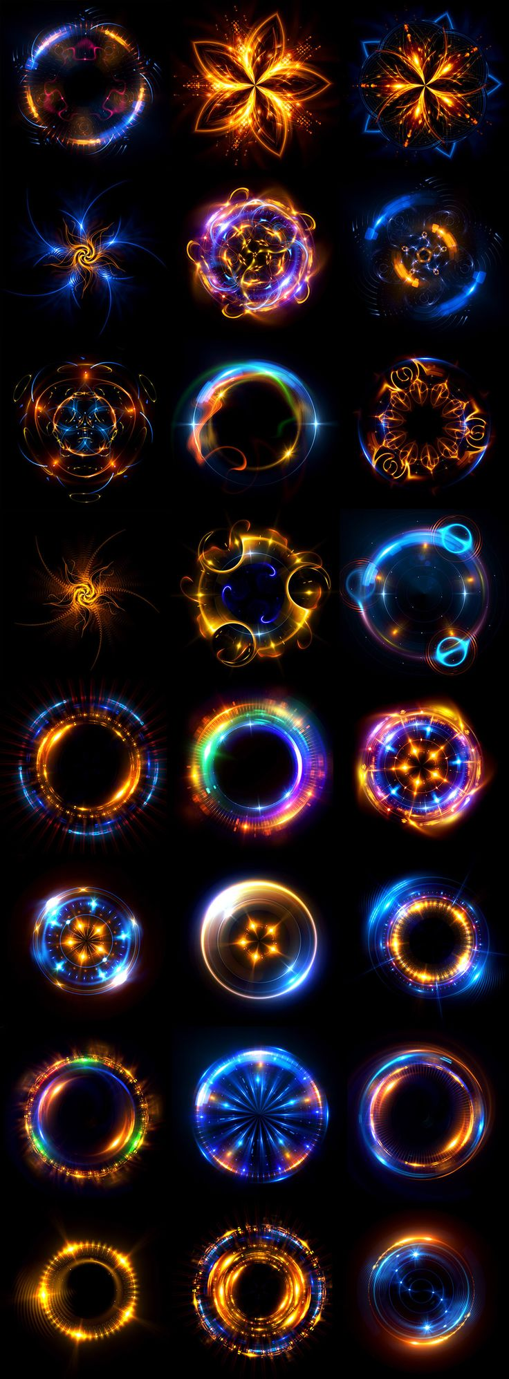 Abstract mystical background.Radial optical flares.