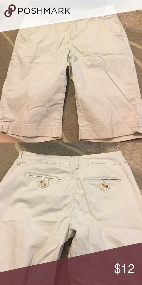 Cream Color Long Women's Shorts Worn only 1 time. No flaws. Christopher Blue Shorts