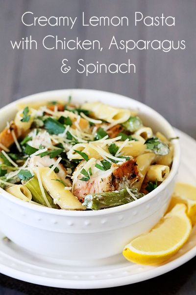creamy lemon pasta with chicken, asparagus & spinach - Gimme Some Oven