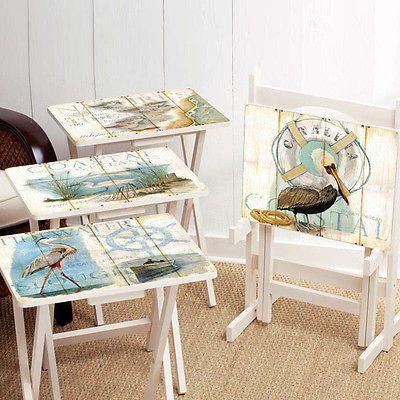 Folding TV Trays Snack Set Dinner Breakfast Stand Shore Birds Beach Coastal Wood