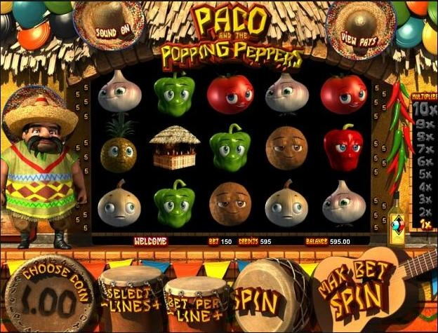 Play the Paco and the Popping Peppers 3d video slot game completely free at 1OnlineCasino.com