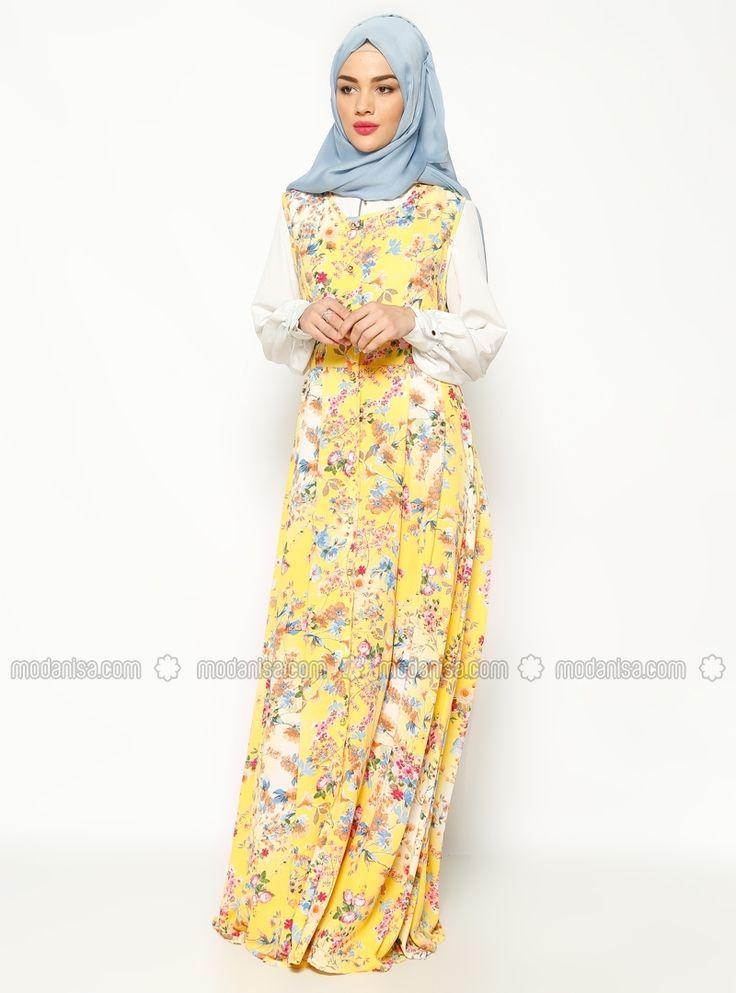 Desenli Kolsuz Elbise - Sarı - BÜRÜN