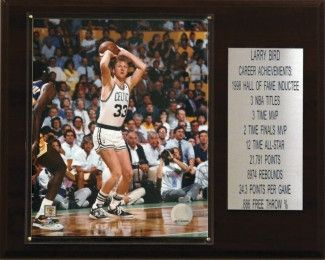 "Boston Celtics Plaque - Larry Bird 12""x15"" Career Stats"