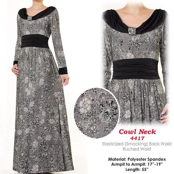2 Tone Cowl Neck Muslim Islamic Abaya Long Sleeves by MissMode21, $30.00