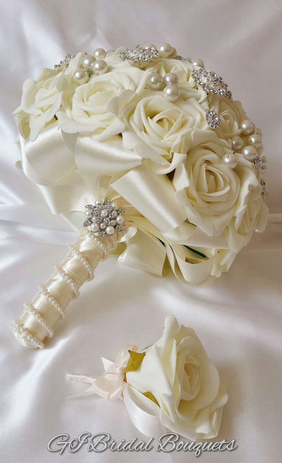 Ivory Bridal Brooch Bouquet Jewelled Bouquet Wedding Brooch