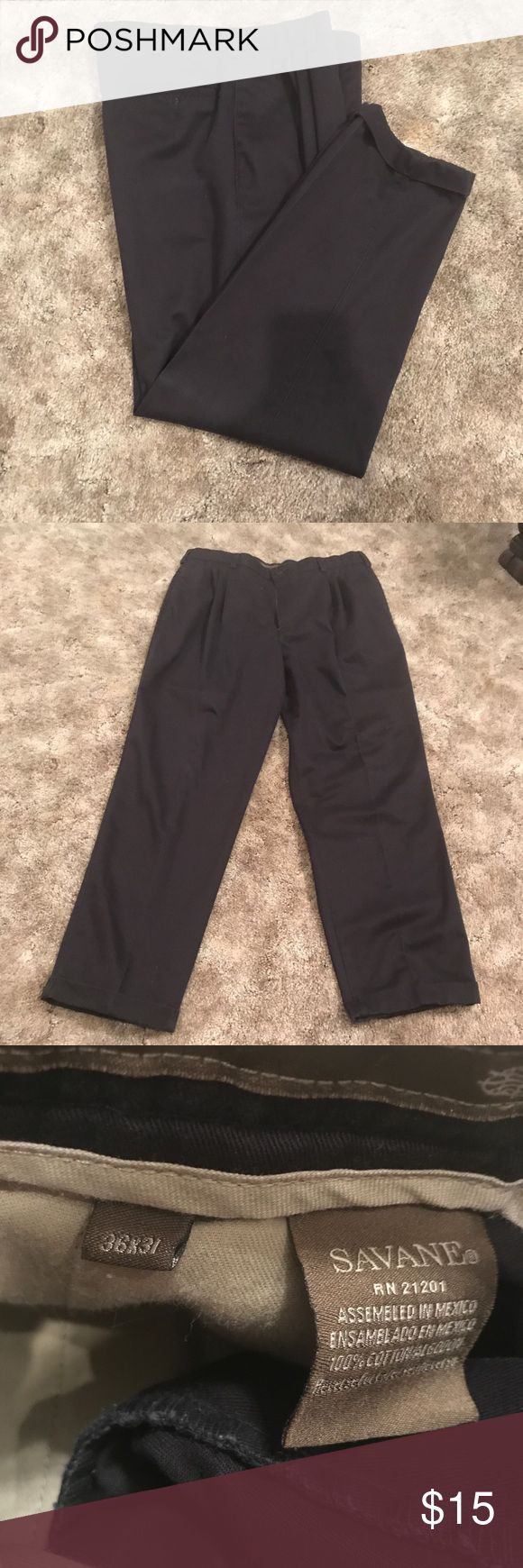 "Men's Savane dress pants Gently worn! Black pleated front dress pants. Length: 31"" 100% Cotton Savane Pants Dress"