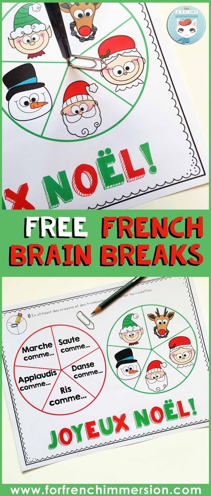 FREE French brain breaks for Christmas! Spin the spinners and give your students' brains a fun break. Noël