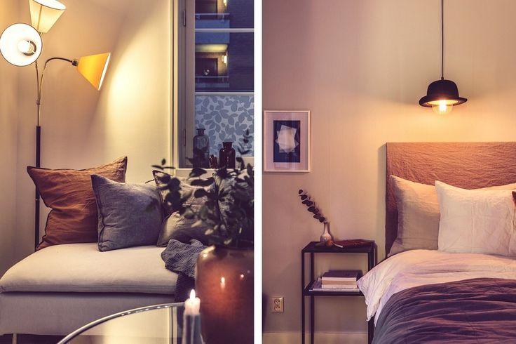 pendant lamp in the bedroom, floor lamp in the living room