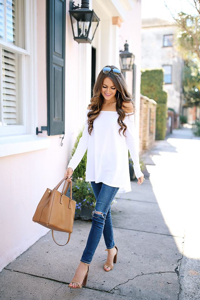Leith off-the-shoulder tee  // AG jeans  // Celine aviators, similar HERE   Prada Saffiano handbag  // Steve Madden Carrson...