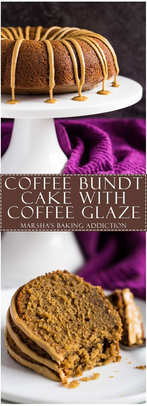 Coffee Bundt Cake - This Bundt cake is scrumptiously moist and fluffy, infused with coffee, and drizzled with a sweet coffee glaze!