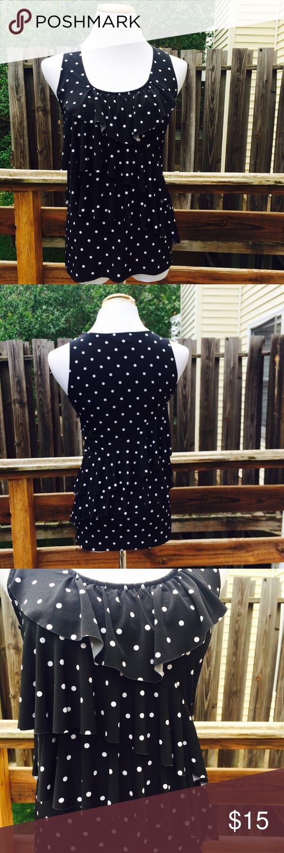 White House Black Market | Ruffle Tiered Top Stretchy black top with white polka dots. Tiered ruffle front bodice. Great condition White House Black Market Tops
