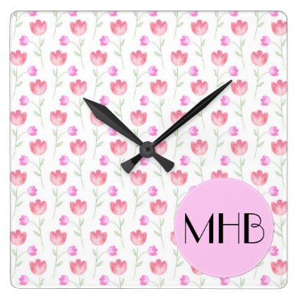 Monogram - Flowers Leaves Plant Stems - Pink Square Wall Clock - floral style flower flowers stylish diy personalize