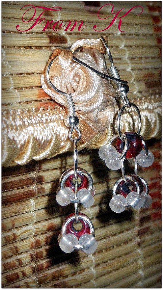 Dangle earrings in chainmaille technique. by FromK on Etsy