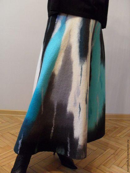 Купить Арт-юбка валяная - абстрактный, арт, юбка длинная, юбка валяная, юбка зимняя