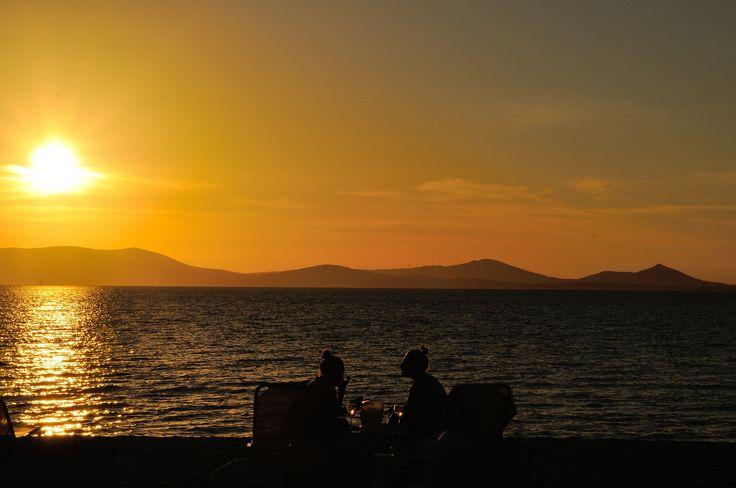 Enjoy #Santorini's #sunset on the #beach...