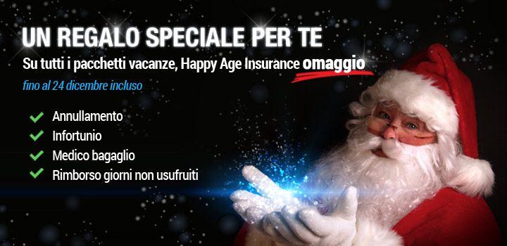 #BabboNatale da noi di #HappyAge è già arrivato...e vi ha portato un regalo strepitoso!!! A chi prenota entro il #24Dicembre QUALSIASI #PACCHETTOVACANZA l' #assicurazione #viaggio la regaliamo noi! E non un'assicurazione qualunque...la #HappyAgeInsurance !!! Non sai ancora in cosa consiste? #annullamento , #infortunio , #medicobagaglio , giorni non usufruiti ... Cosa aspetti? Prendi il tuo regalo!