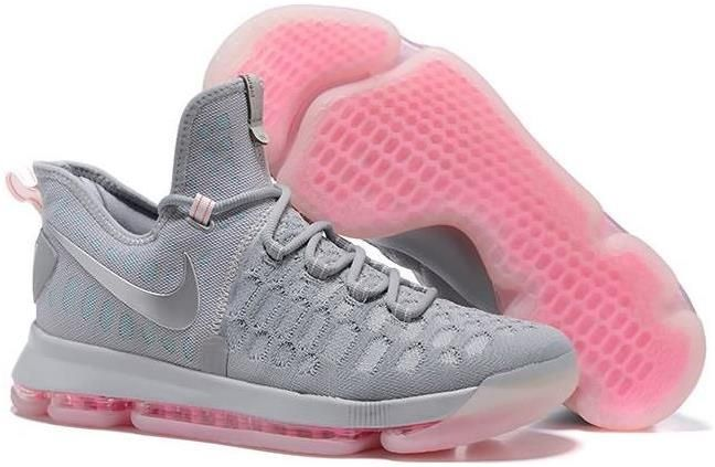 Nike Zoom KD9 Mens Basketball Shoes - Grey/Pink0