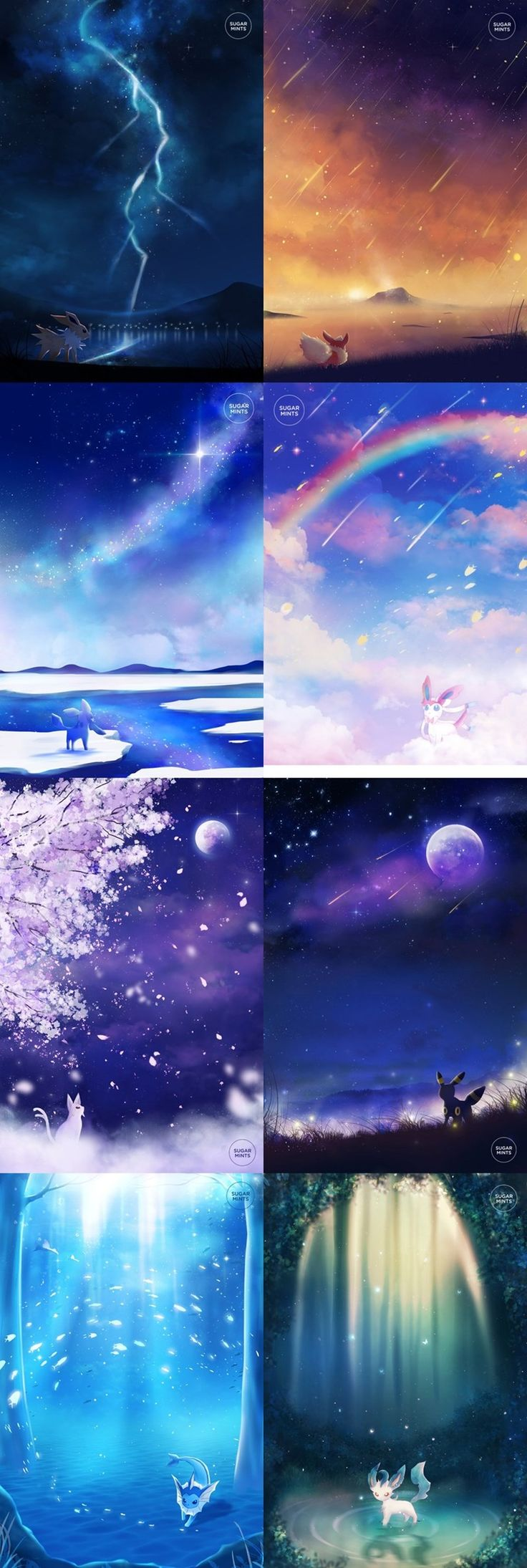 Eeveelutions in Their Element http://sugarmint-dreams.tumblr.com/post/127744792717/all-the-eeveelutions