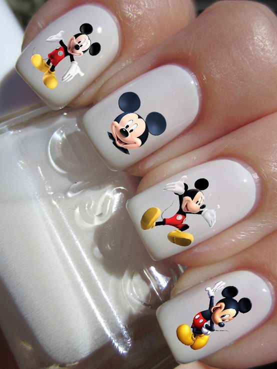 Classic Mickey Mouse Nail Art Decals Waterslide Nail Decals All decals come with instructions and in a resealable bag. Decal sizes are
