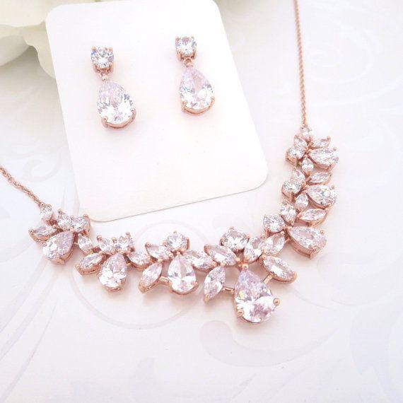 Rose gold Wedding jewelry, Rose Gold Bridal necklace, Crystal necklace, Rose Gold earrings, Necklace set, Cubic zirconia jewelry set
