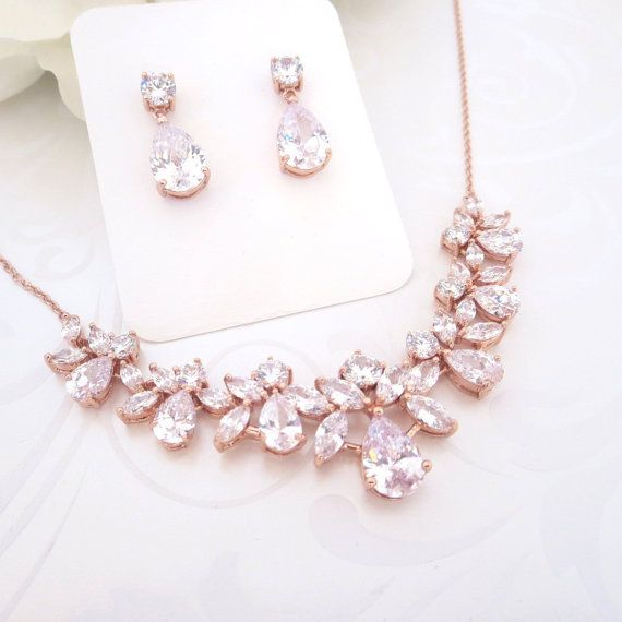 Rose gold Wedding jewelry, Rose Gold Bridal necklace, Crystal necklace, Rose Gold earrings, Necklace set, Cubic zirconia jewelry set