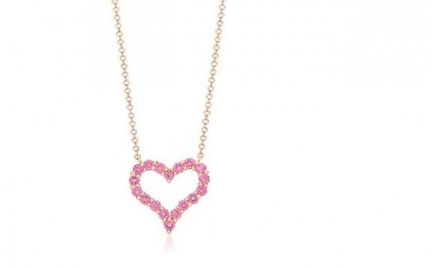 Gioielli per San Valentino, pendete Tiffany oro rosa e diamanti rosa piccolo