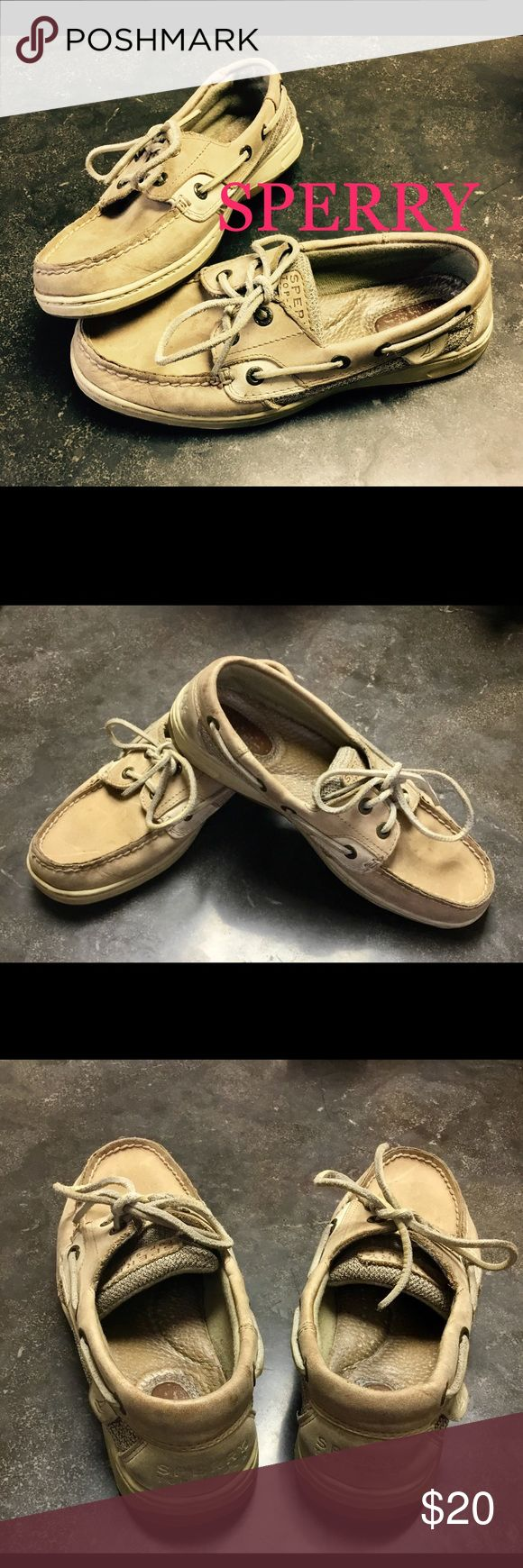 Sperry Boat Shoes SZ 6.5 Sperry Boat Shoes Size 6.5. In good condition, (Wear pictured), tons of life left to give. Perfect for work, school, Casual, or grab & go.Please feel free to check out my other items and I offer bundle pricing! #Discount #Bundle #Cheap #Gift #Deal #Gift #Kotas Will offer free card and wrapping, if sent as gift! Please include occasion and special message. Sperry Shoes Flats & Loafers