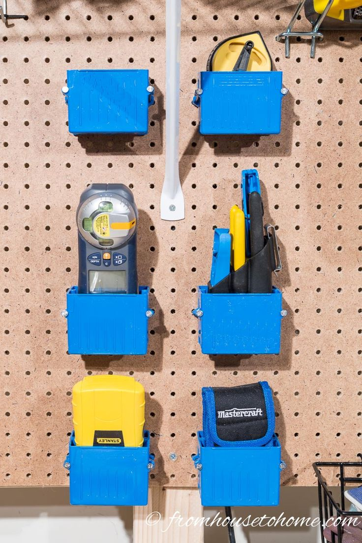 GREAT tool organization ideas for your garage! So many clever and cheap ways to store tools that will get your workbench clutter-free