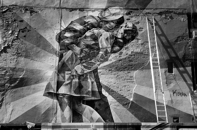 black and white photograph of the street artist Kobra from New York
