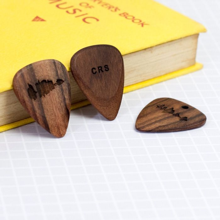 Personalized Wooden Guitar Picks with Engraved Sound Waves