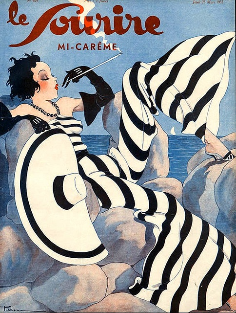 """1933 Cover for the French Magaxine, le Sourire. (See more like this on my """"Deco Darlings"""" board,)"""